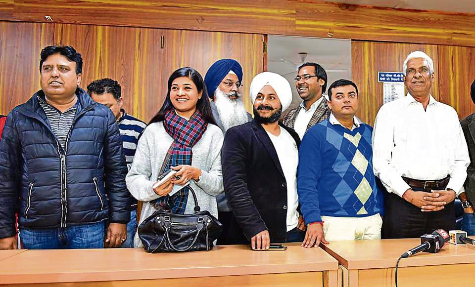 Aam Aadmi Party MLAs addressing the media after a meeting with Delhi CM Arvind Kejriwal.