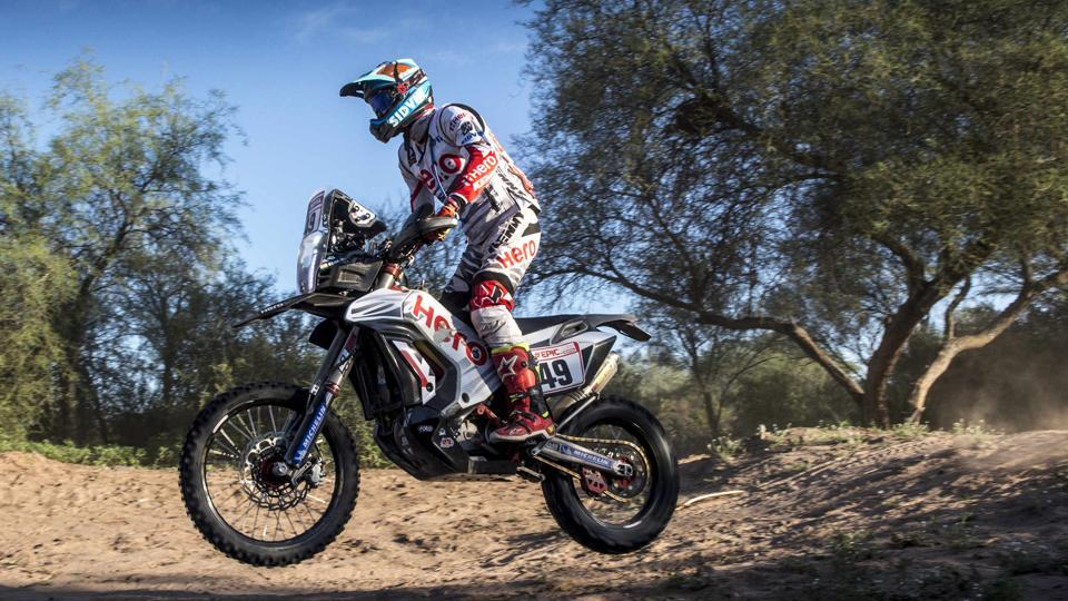 India's CS Santosh competing in stage 13 at the Dakar Rally 2018.