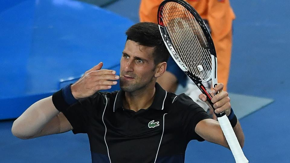Novak Djokovic celebrates beating Albert Ramos-Vinolas in their Australian Open encounter.
