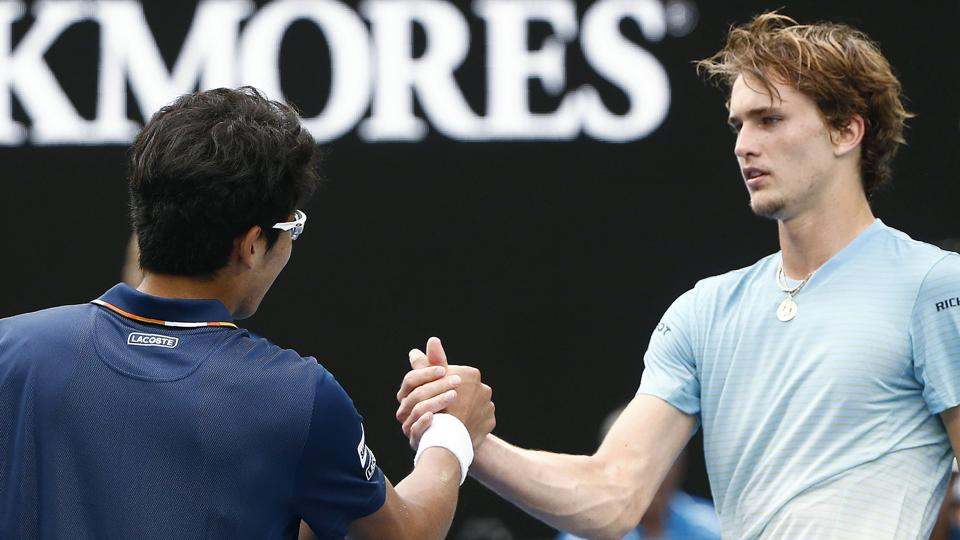 Alexander Zverev (R), tipped as a title contender, lost to South Korea's Hyeon Chung in the third round of the Australian Open tennis tournament.