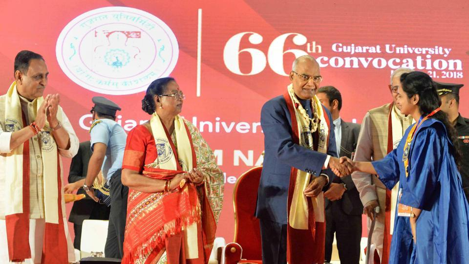 President Ram Nath Kovind at the 66th convocation of Gujarat University in Ahmedabad on Sunday.
