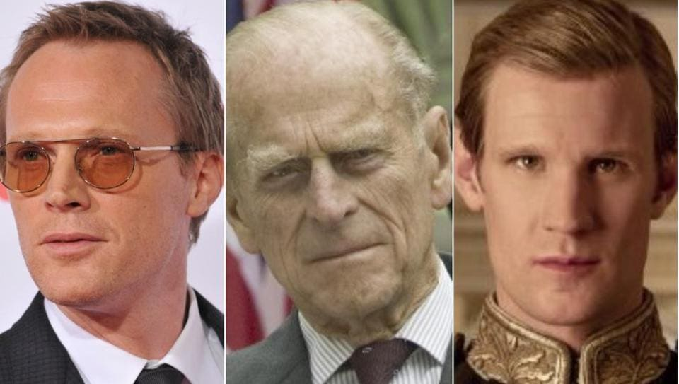 Paul Bettany (left) is in talks to play Prince Philip (centre), so far played by Matt Smith (right) on Netflix's The Crown.