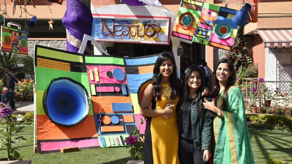 Students pose in front of the self-created decor for Nexus — the annual cultural fest of Sri Venkateswara College.