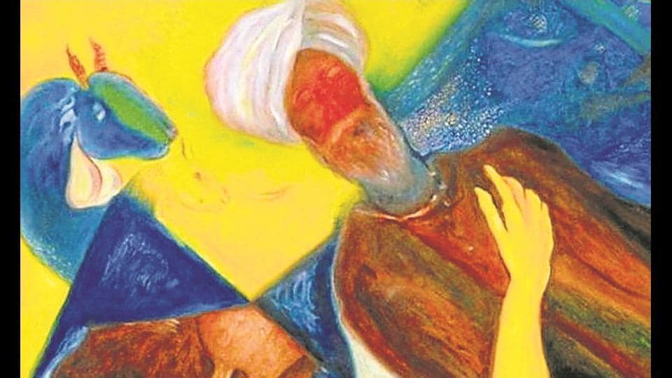 Malkit Singh's painting of a villager and a goat.