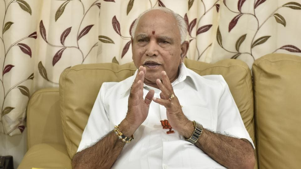 BS Yeddyurappa, former Karnataka chief minister and state BJP president, during an interview with Hindustan Times in Bengaluru.