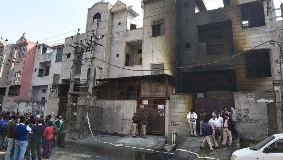 The firecracker factory in Bawana  where a massive blaze on Saturday night killed at least 17 people.