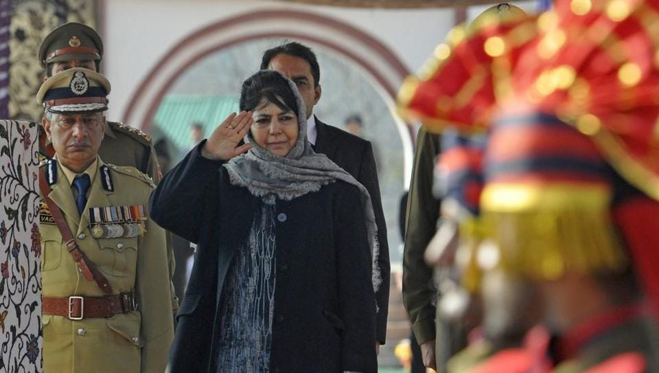 Jammu and Kashmir chief minister Mehbooba Mufti during the passing out parade of new police recruits in Sheeri, Baramulla.