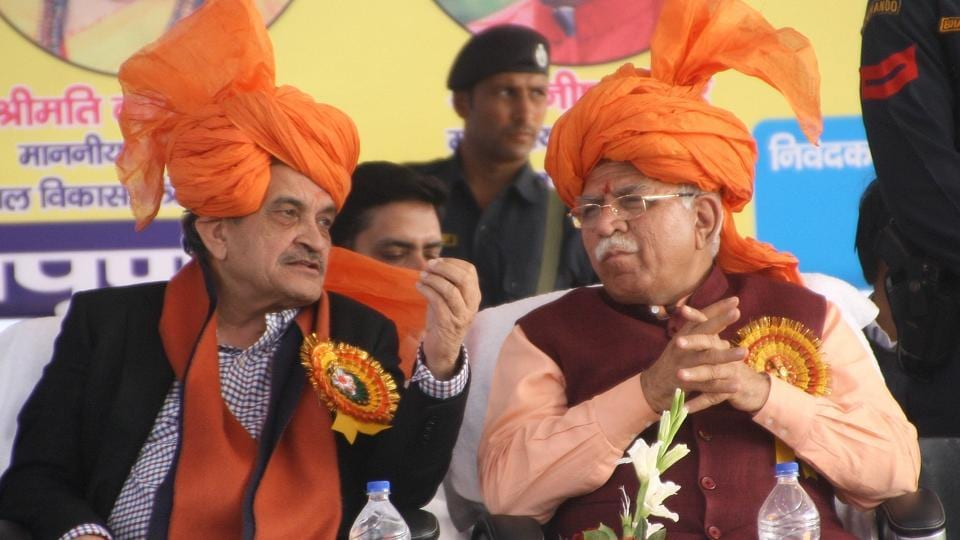 Haryana chief minister Manohar Lal Khattar and Union minister Birender Singh in Rohtak on Saturday.