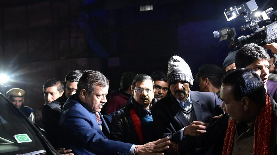 Chief Minister Arvind Kejriwal visits the firecracker factory which caught fire in north Delhi's Bawana Industrial Area on Saturday. At least 17 people died in the fire. (PTI)
