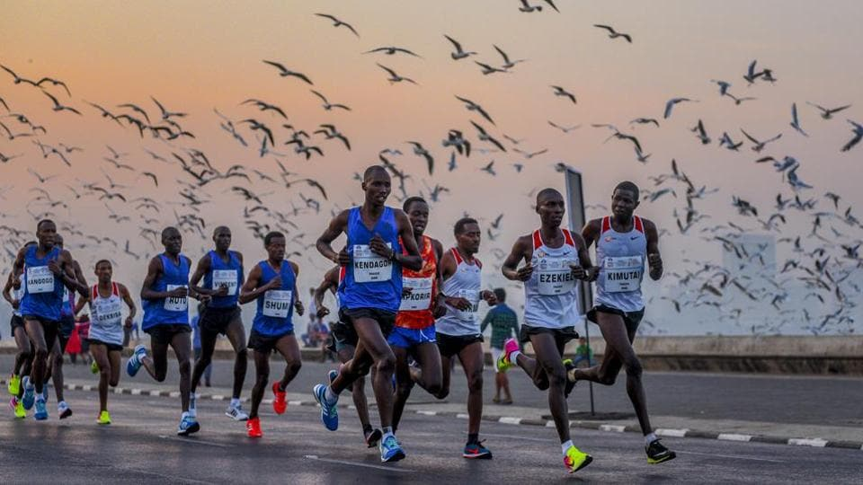 Runners at Marine Drive on Sunday.