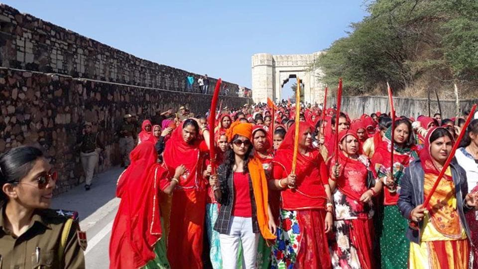 Rajput women take out Swabhimaan Rally in Chittorgarh to protest the release of Padmaavat on Sunday.