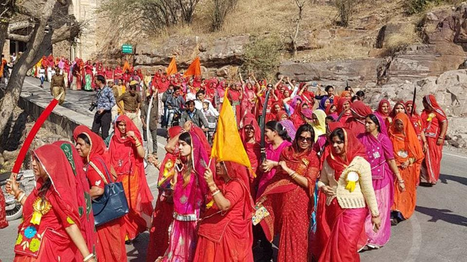 Rajput women take part in Swabhimaan rally in Chittorgarh to protest release of Padmaavat.