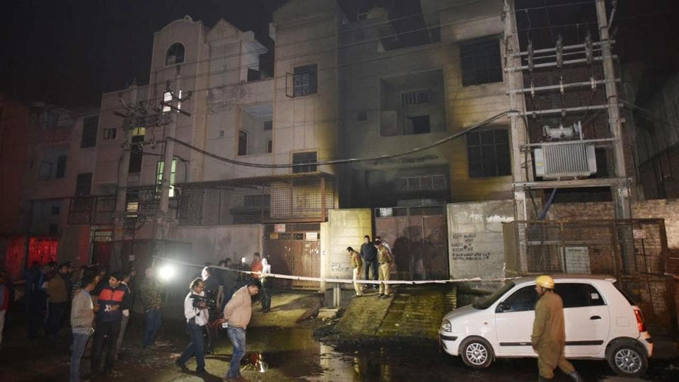 The two-storey building in Delhi's Bawana Industrial Area caught fire on Saturday.