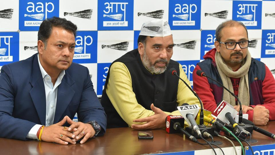 Senior AAP leaders Gopal Rai and Dilip Pandey address a press conference in New Delhi.