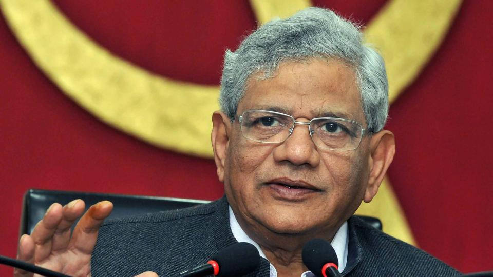 CPI(M) General Secretary Sitaram Yechury addresses a press conference after the party's central committee meeting in Kolkata.