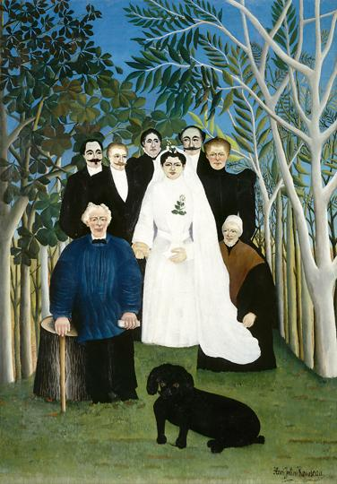 """""""Don't step on that lacy white train!"""": The Wedding Party by Henri Rousseau. Part of the collection of Muse de l'Orangerie, Paris. (Photo by Fine Art Images/Heritage Images/Getty Images)"""