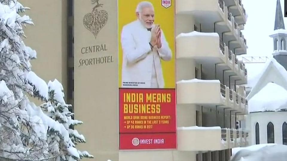 Poster of PM Narendra Modi is seen in Davos ahead of the WEF summit.