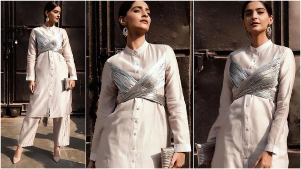Sonam Kapoor's grey kurta featured a silver tie-up zari detail, demonstrating how eccentric silver tassels can elevate an ensemble with basic silhouettes.