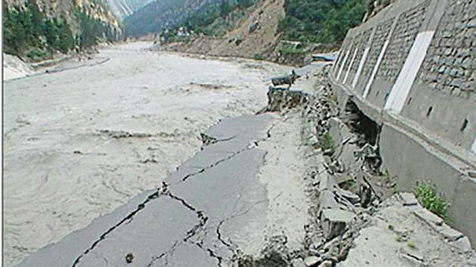 A damaged road due to the flood in the Sutlej in Kinnaur district in 2005.