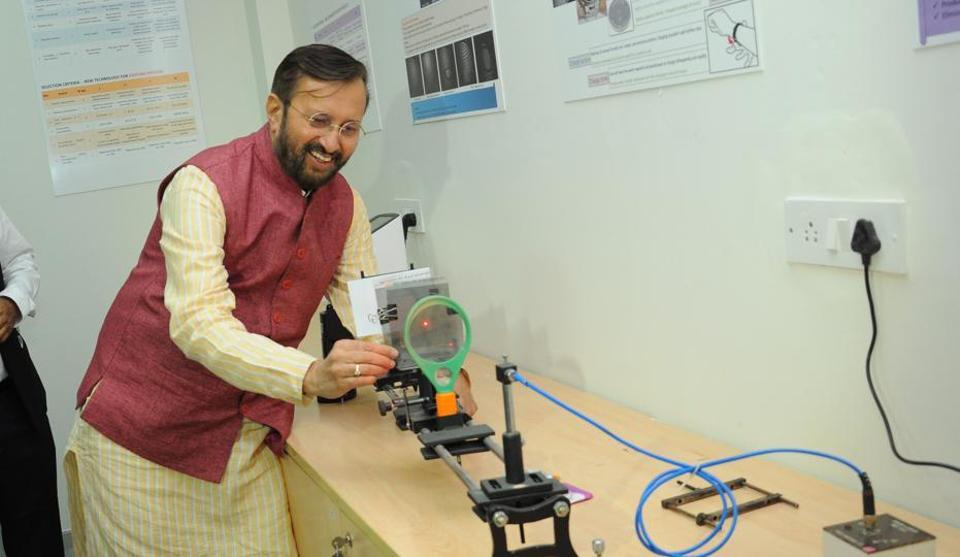 Human resource development minister Prakash Javadekar checking out facilities at the IITMadras Research Park.
