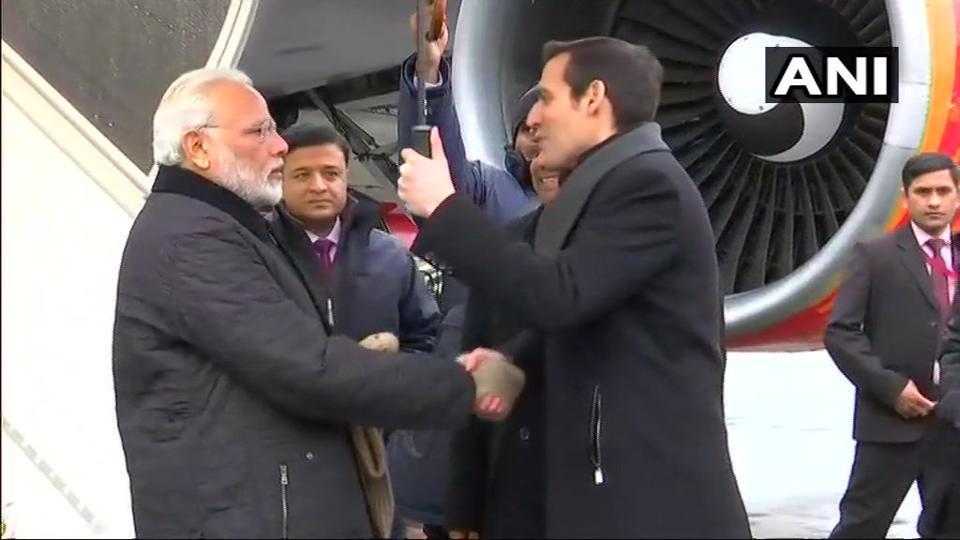 PM Narendra Modi arrives in Zurich, will leave for Davos for the World Economic Forum.