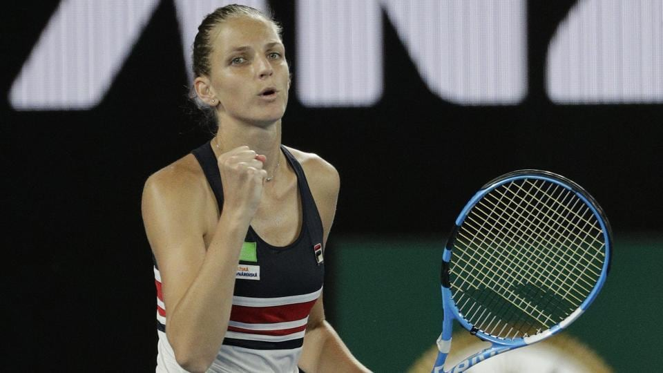 Karolina Pliskova of the Czech Republic celebrates after defeating her compatriot Barbora Strycova in the fourth round of the Australian Open tennis championships in Melbourne on Monday.