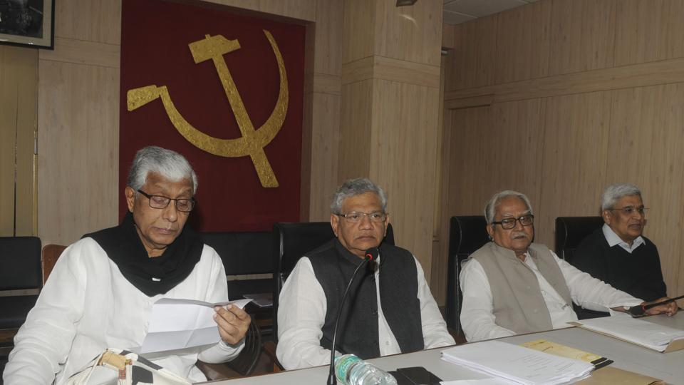 Chief minister of Tripura Manik Sarkar, Sitaram Yechury, Biman Bose and Prakash Karat during the three-day Central Committee meeting of the Communist Party of India (Marxist) in Kolkata, January 19, 2018
