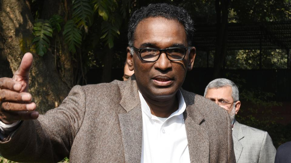 Justice Chelameswar during a press conference in New Delhi on  January 12.