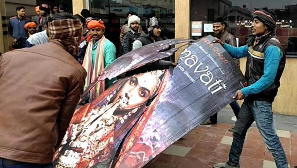 Karni Sena members protest against Sanjay Leela Bhansali's film 'Padmaavat' near Jyoti Cinema Hall in Muzaffarpur on Thursday.