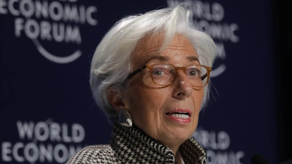 Christine Lagarde, managing director of the International Monetary Fund, addresses a news conference on the eve of the World Economic Forum, in Davos, on Monday.