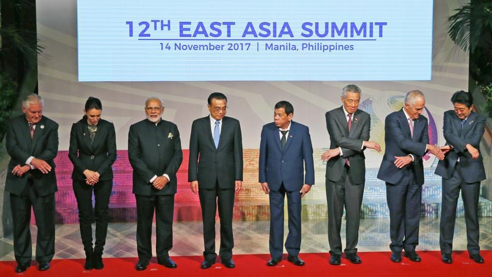 Leaders from the ASEAN and their dialogue partners which comprises the East Asia Summit, pose for a group photo session at the 31st ASEAN Summit , November 14, 2017 in Manila, Philippines.