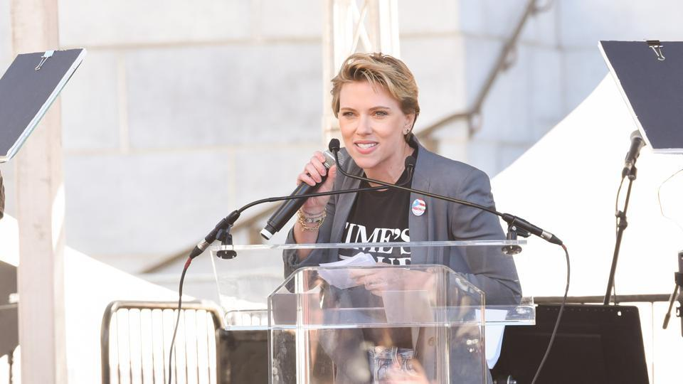 Scarlett Johansson launched a scathing attack on actor James Franco for supporting the Time's Up initiative publicly but 'privately preying on people who have no power', in Los Angeles. Thousands poured out onto streets globally, on the anniversary of 2017's Women's March, to cap off a weekend of demonstrations that promised continued momentum for equality, justice and an end to sexual harassment. (Presley Ann / AFP)