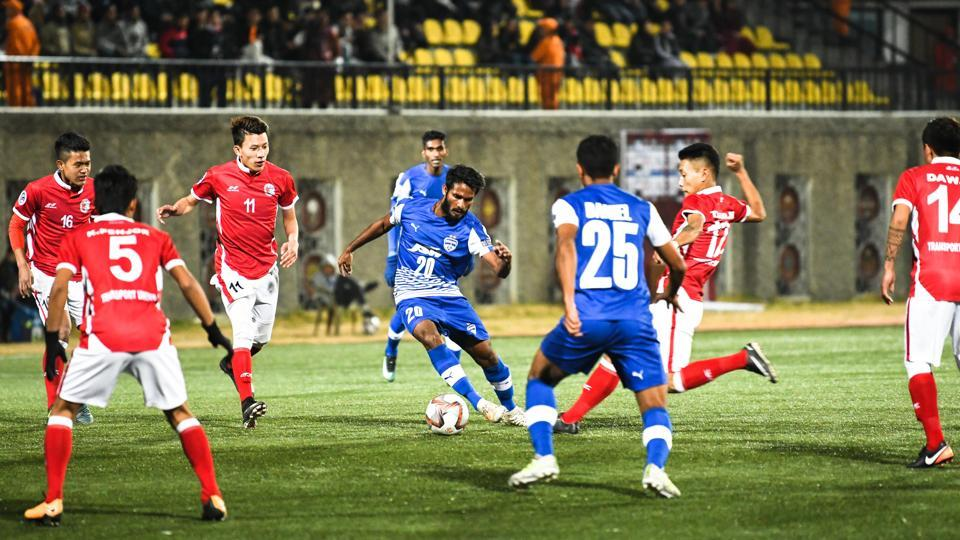 Bengaluru FC and Transport United's AFCCup match in progress at Thimphu.
