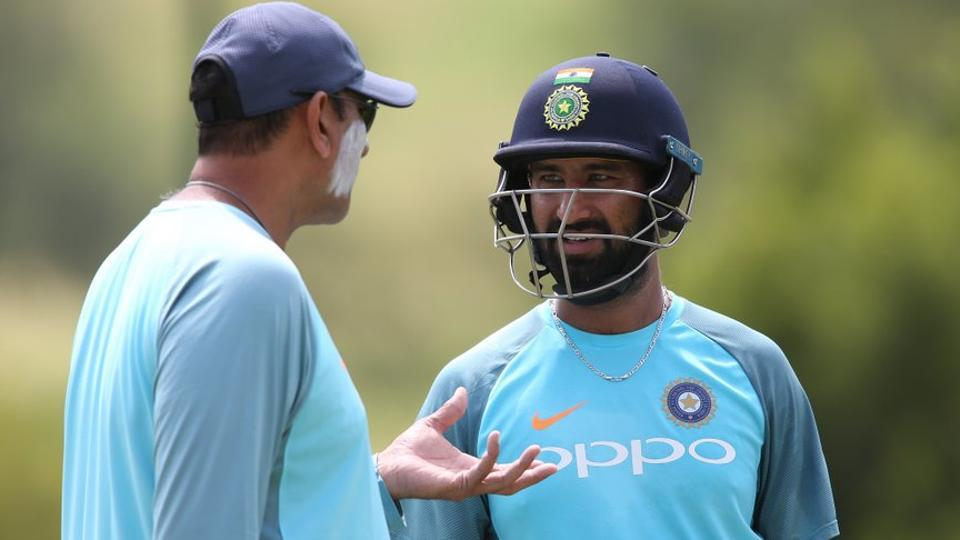 Ravi Shastri in conversation with Indian cricket team batsman Cheteshwar Pujara. (BCCI)