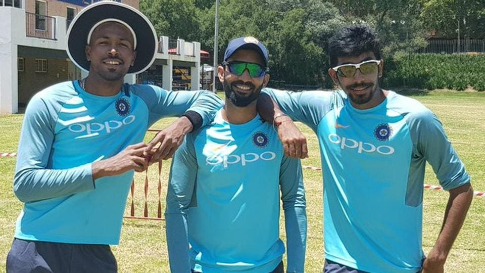 (L to R) Hardik Pandya, Dinesh Karthik and Jasprit Bumrah during the practice session. (BCCI)