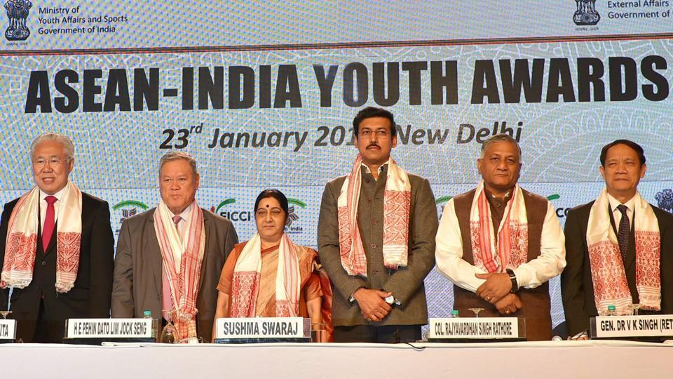 External affairs minister Sushma Swaraj with MoS for external affairs VK Singh, sports minister Rajyavardhan Singh Rathore and ASEAN delegates at ASEAN-India Youth Awards in New Delhi on January 23.