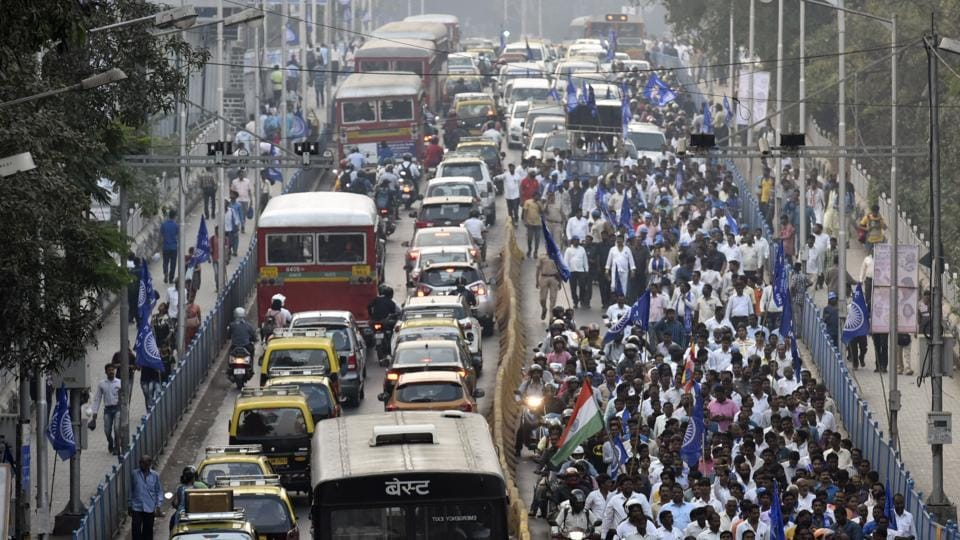 Traffic slowed down owing to the to RPI Unity March from Chatiyabhoomi to Naigaum on Monday.