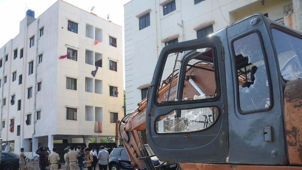 To protest and prevent the encroachment department of Pimpri Chinchwad Municipal Corporation from taking action at Devkar Park in Pimple Gurav, a woman jumped from the fourth floor of the building in Pune on Tuesday.