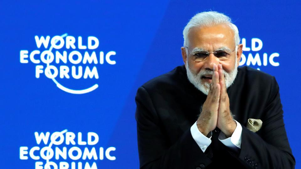 Prime Minister Narendra Modi gestures at the Opening Plenary during the World Economic Forum (WEF) annual meeting in Davos, Switzerland.