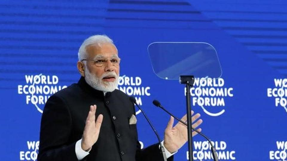 Prime Minister Narendra Modi gestures as he speaks at the Opening Plenary during the World Economic Forum (WEF) annual meeting in Davos, Switzerland.