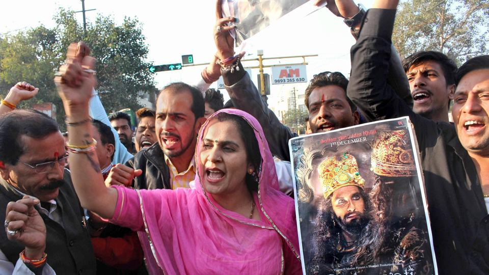 Karni Sena activists protest against the release of film Padmaavat.