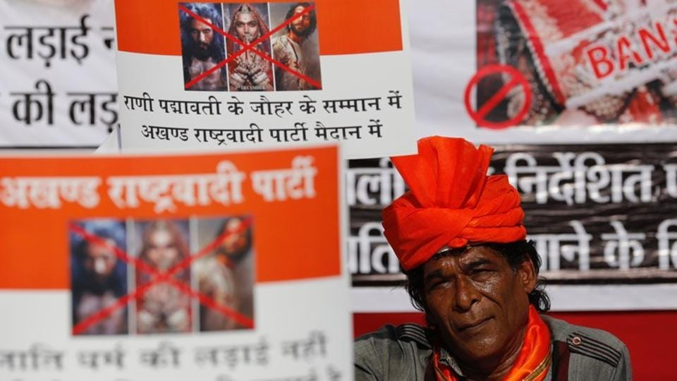 A member of the Rajput community holds a placard during a protest against the release of 'Padmaavat' in Mumbai. The Supreme Court on Tuesday dismissed Rajasthan and Madhya Pradesh governments' pleas to modify its earlier order lifting the ban on the film. (Danish Siddiqui / REUTERS File)