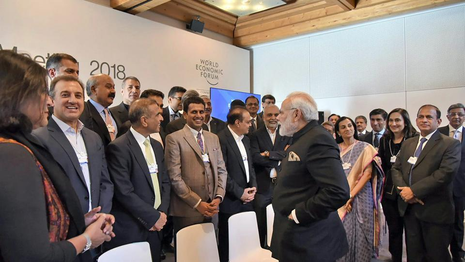 Prime Minister Narendra Modi interacts with the Indian CEOs in Davos.