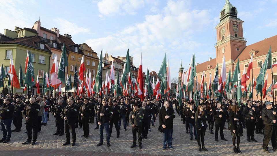 File photo of members of a far-right group, the National-Radical Camp, marching in Warsaw.