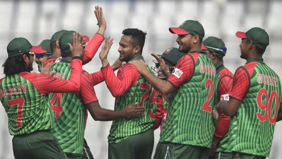 Bangladesh players celebrate the dismissal of a Zimbabwe batsman during a tri-nation one-day international cricket match in Dhaka. Catch full cricket score of Bangladesh vs Zimbabwe, tri-series ODI here