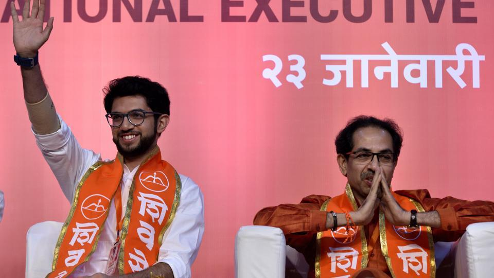 Shiv Sena chief Uddhav Thackeray's son Aaditya (left) was elevated in the party hierarchy on Tuesday at the party's national executive meeting held at the NSCI, Worli.