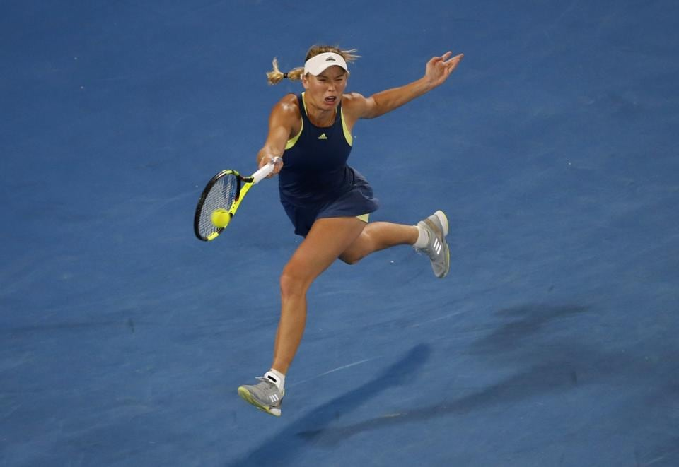 Denmark's Caroline Wozniacki defeated Spain's Carla Suarez Navarro in a quarter-final.  (REUTERS)