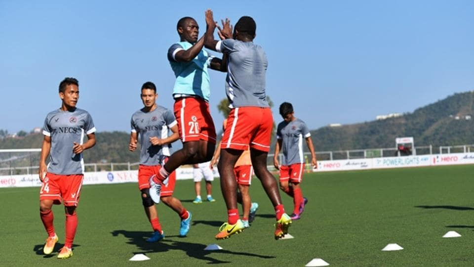 Aizawl FC players during a practice ahead of their I-League clash.