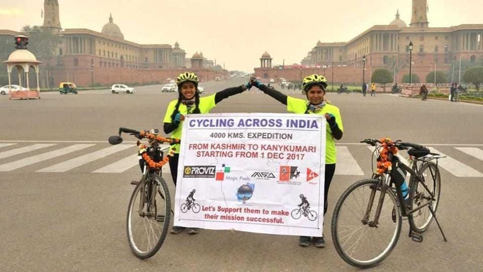 Sayali Maharao, 19 (right) is from Thane and is pursuing her graduation from Shahu college in Pune, while 23-year-old Pooja Budhawale has a diploma in tours and travels. The girls pedalled 100km-120km daily.