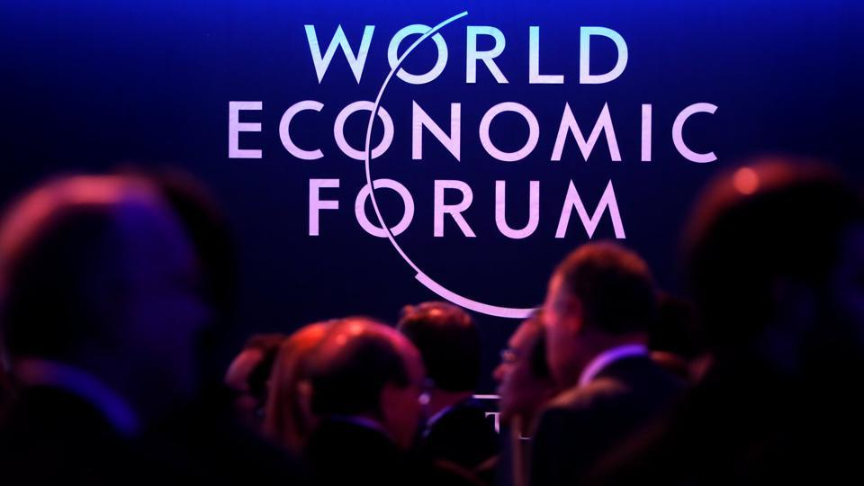 A logo of the World Economic Forum (WEF) is seen as people attend the WEF annual meeting in Davos, Switzerland.